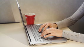 Woman typing on a laptop in the office. Close up stock video