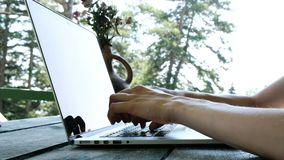 Woman typing on a laptop outdoors in summer close-up. Teleworking, communication on the Internet or education by nature stock video footage