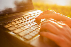 Woman Typing On A Laptop Keyboard In A Warm Sunny Day Outdoors. Stock Photography