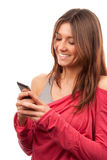 Woman typing and sending SMS  mobile cellphone Royalty Free Stock Photos