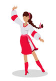 Woman in Ukrainian National Clothes Dance Vector. Woman in ukrainian national clothes dance. Vector in flat design. Young girl with braided hair in white blouse Royalty Free Stock Image