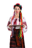 Woman in ukraininan costume holding empty tray Stock Image