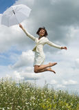 The woman with  umbrella Royalty Free Stock Photography
