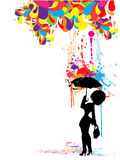 Woman with umbrella. Under a colored paint spalts Royalty Free Stock Images
