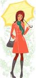 Woman with umbrella. In autumn stock illustration