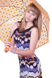 Woman with umbrella. Portrait of the beautiful girl holding a yellow umbrella symbolizing protection and insurance on a white background Stock Photos