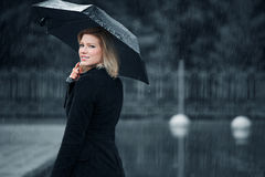 Fashion woman with umbrella in the rain Stock Photo