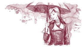 Woman with umbrella. Handdrawn illustration of young pretty woman with umbrella Royalty Free Stock Photography