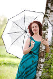 Woman with an umbrella. The beautiful woman with an umbrella about a birch Stock Image