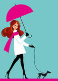 Woman with umbrella. Prety woman with umbrella and dog Royalty Free Stock Photography
