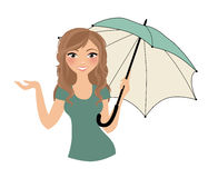 Woman umbrella avatar pose Royalty Free Stock Photos