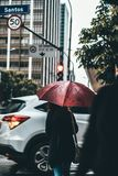 Woman with umbrella on city streets