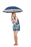 Woman with umbrella isolated Royalty Free Stock Image
