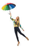 Woman with umbrella isolated Stock Photography