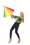Woman with umbrella isolated Royalty Free Stock Photography
