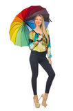 Woman with umbrella isolated Royalty Free Stock Photo