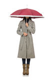 Woman with umbrella isolated on white Royalty Free Stock Photography