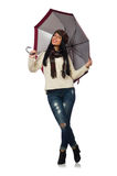 Woman with umbrella isolated on white Stock Photo
