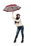 Woman with umbrella isolated on white Royalty Free Stock Image