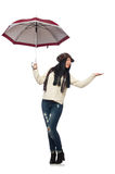 The woman with umbrella isolated on white Stock Images