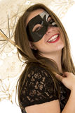 Woman umbrella mask head back laugh Royalty Free Stock Photo