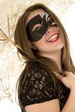 Woman umbrella mask head back laugh Royalty Free Stock Photo