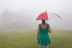 Woman Umbrella Mist Home. Woman with umbrella and dogs stand in front of home across lawn through cloud mist Royalty Free Stock Image