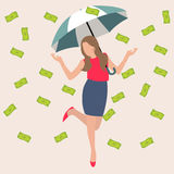 Woman umbrella money rain dollar cash rich lucky success business flat vector illustration concept. Drawing Stock Image