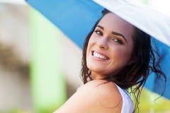 Woman umbrella rain Stock Photography