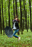 Woman with umbrella in the rain Stock Photography
