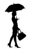 Woman with umbrella silhouette Royalty Free Stock Photo