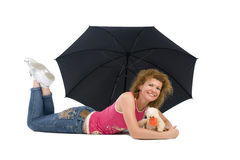 Woman with umbrella and toy Royalty Free Stock Image