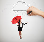 Woman with umbrella under rain Royalty Free Stock Images