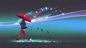 Woman with an umbrella walking with the light royalty free illustration