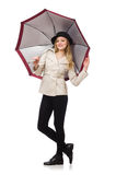 The woman with umbrella on white Stock Image