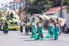 Woman with umbrellas at flowers festival Chiang Mai Thailand Stock Photos