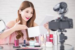 Woman unbox in live royalty free stock photography