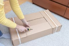 Free Woman Unboxing A Cardboard Box With New Furniture With Construction Knife - Moving To New House And Purchasing New Furniture Royalty Free Stock Photos - 143441268