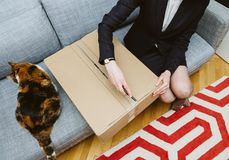 Woman unboxing unpacking cardboard box with her cat. Living room view from above of woman unpacking unboxing cardboard box box side being helped by her pet cat royalty free stock images