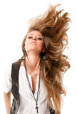 Woman with uncurled hair. Portrait of young sexy woman with uncurled hair isolated on white Stock Photography