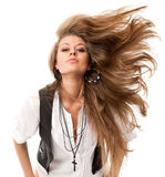 Woman with uncurled hair Stock Photo