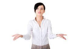 Woman with undecided open hands gesture Royalty Free Stock Images