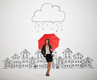 Woman under drawing storm cloud Stock Image