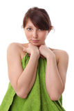 Woman under green towels Royalty Free Stock Photos