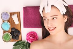 Beautiful woman relaxing and getting head massage Stock Photography
