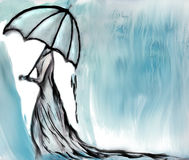 Woman under rain Royalty Free Stock Images