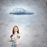 Woman under rain Royalty Free Stock Photography