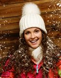 Woman under snow Stock Photography