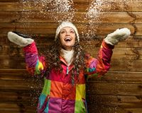 Woman under snow Royalty Free Stock Image