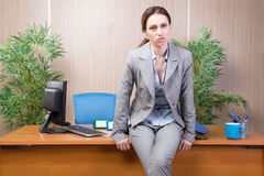 The woman under stress working in the office Royalty Free Stock Images